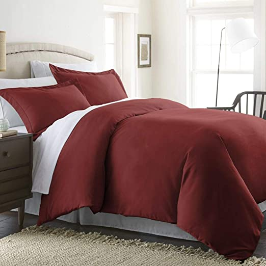 Amazon Com Beckham Hotel Collection Luxury Soft Brushed 1800 Series Microfiber Duvet Cover Set With Zipper Closure Hypoallergenic Full Queen Rich Burgundy Kitchen Dining