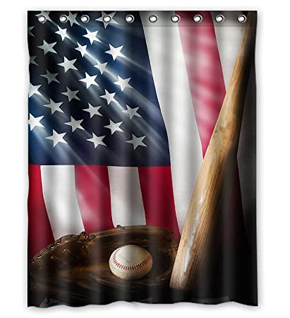 KXMDXA Custom American Flag And Baseball Bathroom Shower Curtain Rings Included 100 Polyester