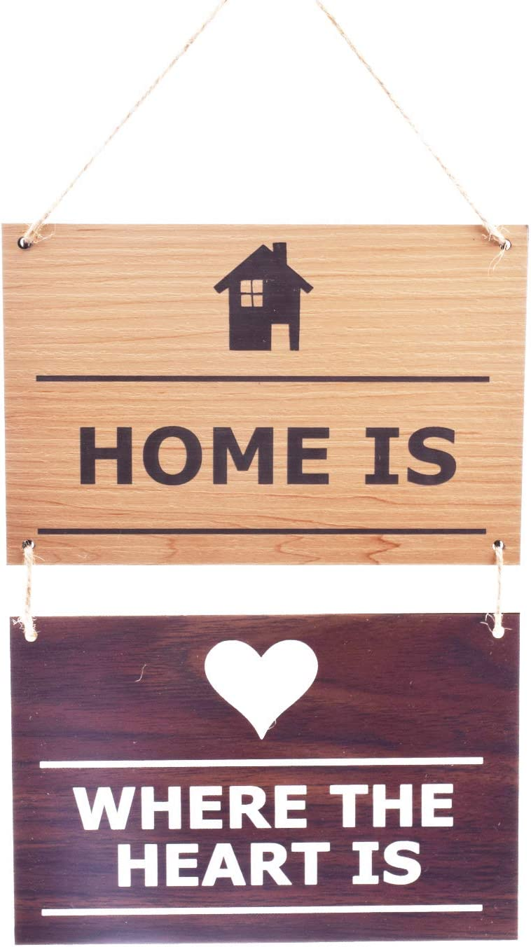 Wooden Effect Engraved 'Home is Where The Heart is' Hanging Sign - Home, House