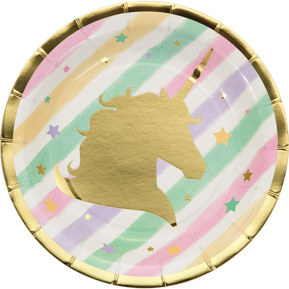 For 8 Guests Dinner Plates Dessert Plates Danglers with Unicorn Cake Topper Dabco Designs Happy Birthday Banner Sparkle Unicorn Party Supplies Set /& Party Decorations Supply Pack Napkins,Tablecover