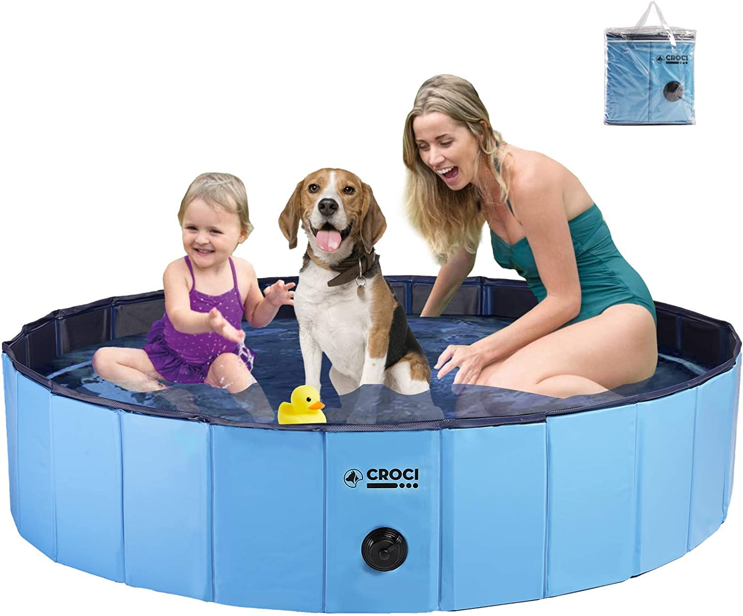 Croci Dog Pool For Medium Dogs 48in Diameter Pet Pool Folable Pvc Hard Plastic Dog Bath Pool Pefect For Kiddie Backyard Water Playing With Pets Pet Supplies
