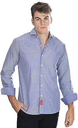 Camisa Manga Larga Azul Marina de Vestir, semientallada con ...