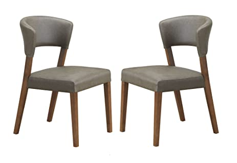 Baxton Studio Set Of 2 Montreal Mid Century Dark Walnut Wood And Grey Faux  Leather