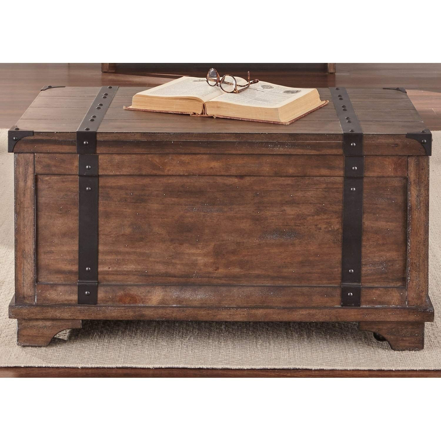 Aspen Skies Weathered Brown and Grey Hang Storage Trunk Rustic Traditional Rectangle Metal Pine Veneer Wood Finish Includes Hardware by Unknown