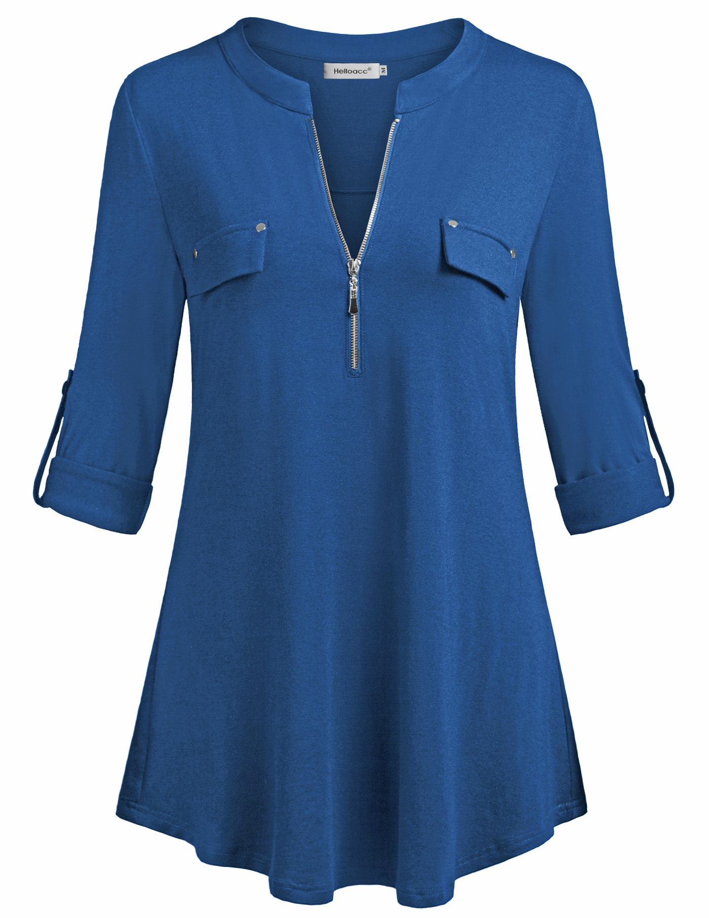 Helloacc Tops & Blouses for Women,Classic Zip Up V Neck Office Shirts Fitted Aline Tunic Tops Long Shirts for Plus Women Office Lady Suit Active Cutout Latest Fashion Sexy Size XL Blue US16