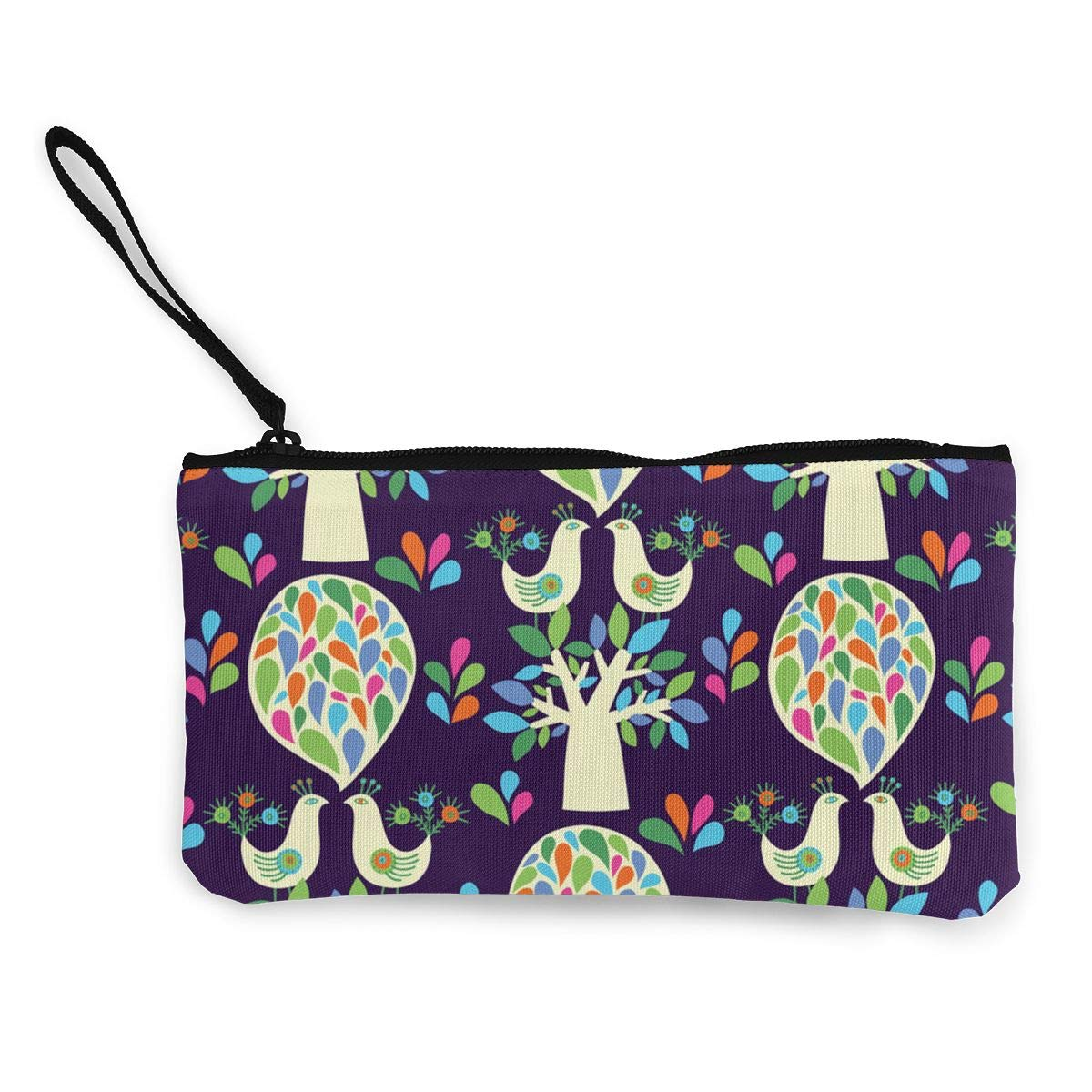 Trees And Birds Pattern Canvas Coin Purse Small Cute Wallet Bag With Zip