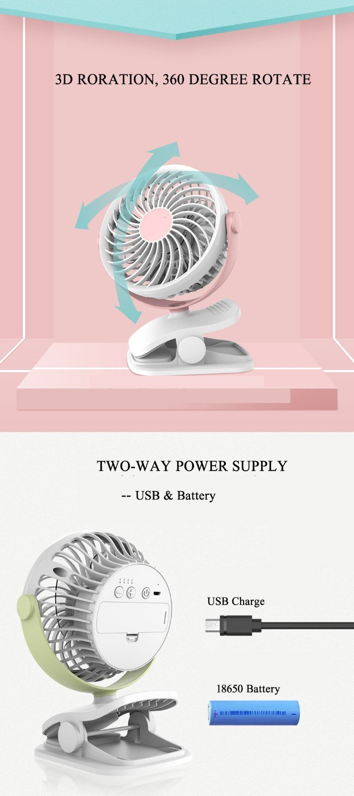 Baby Stroller Clip USB Fan Battery Operated Fan, Rechargeable, Quiet Design, Portable, 4-Speed Adjustable, for Desk, Tents, Car, Bed New- 4 Colors,Pink by YWXJY (Image #6)