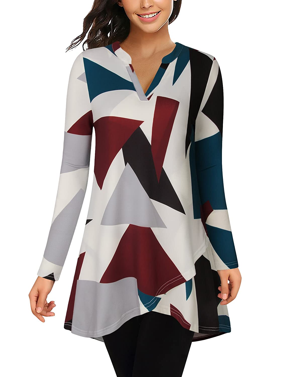 Bebonnie Printed Tunic Tops Long Sleeve Notch Neck A Line Casual Layered Tunic Shirts