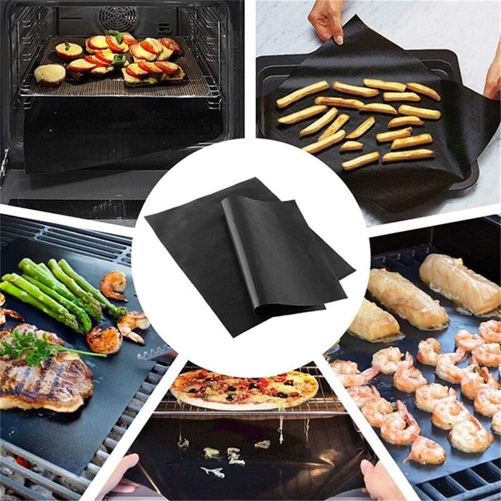 Noir PTFE Non-adhésif BBQ Grill Mat Barbecue Cuisson Revêtement Cuisine Gadget De Cuisine 40 X33cm Réutilisable Teflon Feuilles De Cuisine (Color : 1pc) 4pcs