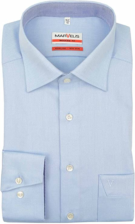 Marvelis - Camisa de ajuste moderno, color azul claro: Amazon.es: Ropa y accesorios