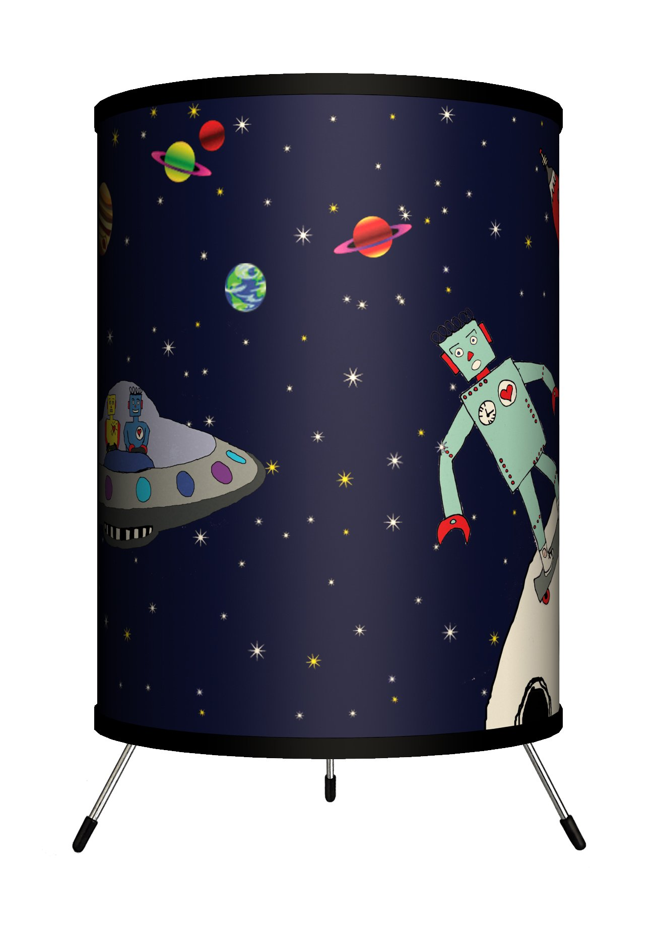 Lamp-In-A-Box TRI-FAR-CMROB Featured Artists - Carrie Masters ''Robots in Space'' Tripod Lamp, 14'' x 8'' x 8''