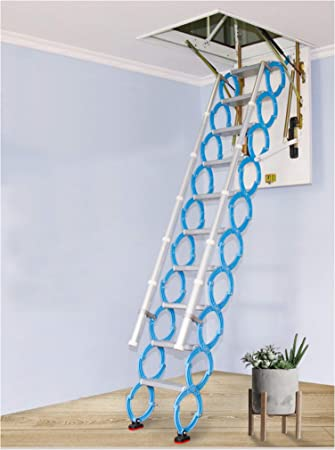 Invisible Loft Ladder Alloy Hole Retractable Folding Attic Stairs Pull Down Ceiling Ladder Hinges 6 56 Ft 13 12ft Height 9 18 Ft Hole 27 55in35 43in Amazon Com