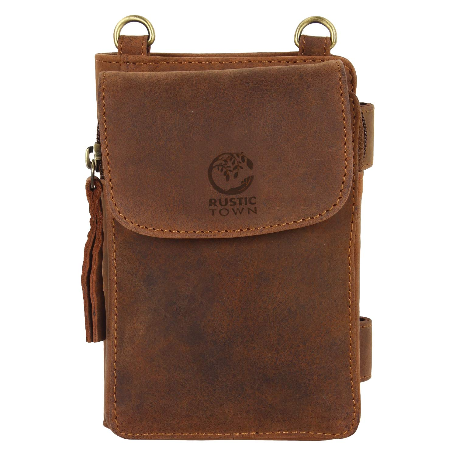 8334f01498e Amazon.com: Rustic Town Leather Crossbody Purse for Women - Travel Wallet, Neck  Wallet and Passport Holder for Ladies Brown: Shoes