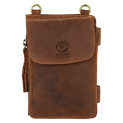 29efb2841e0 Image Unavailable. Image not available for. Color: Rustic Town Leather  Crossbody Purse for Women - Travel Wallet, Neck ...