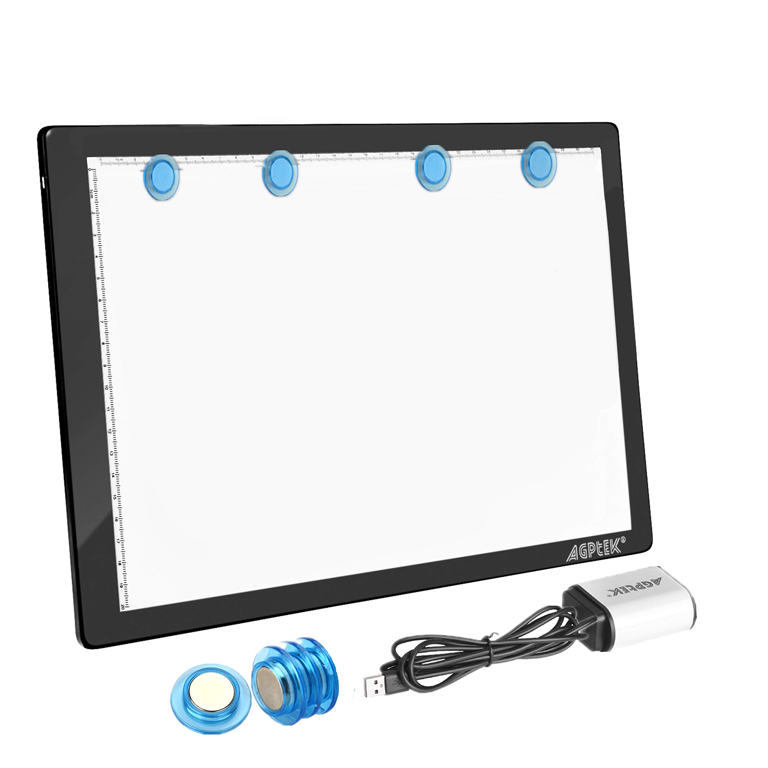 Light Box,Magnetic A4 Light Pad LED Tracing Light Board Physical Buttons Control USB Powered Ultra-thin Dimmable Brightness for Diamond Painting Tatoo Pad Animation,Sketching,Stencilling X-ray Viewing by AGPTEK