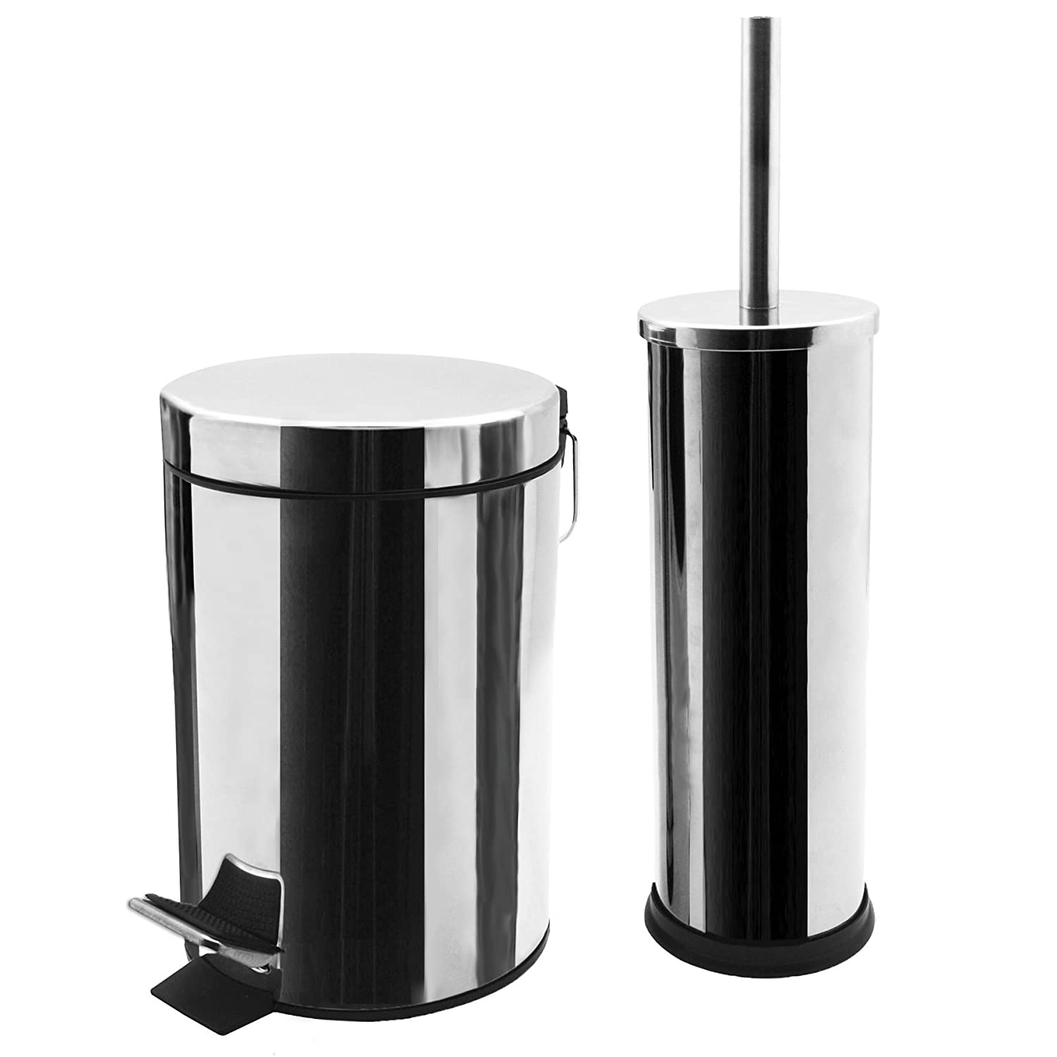 Harbour Housewares Bathroom Pedal Bin and Toilet Brush Set - 3 Litre Bin - Chrome Finish