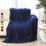"ALPHA HOME Soft Throw Blanket Warm & Cozy for Couch Sofa Bed Beach Travel - 50"" x 60"", Navy"