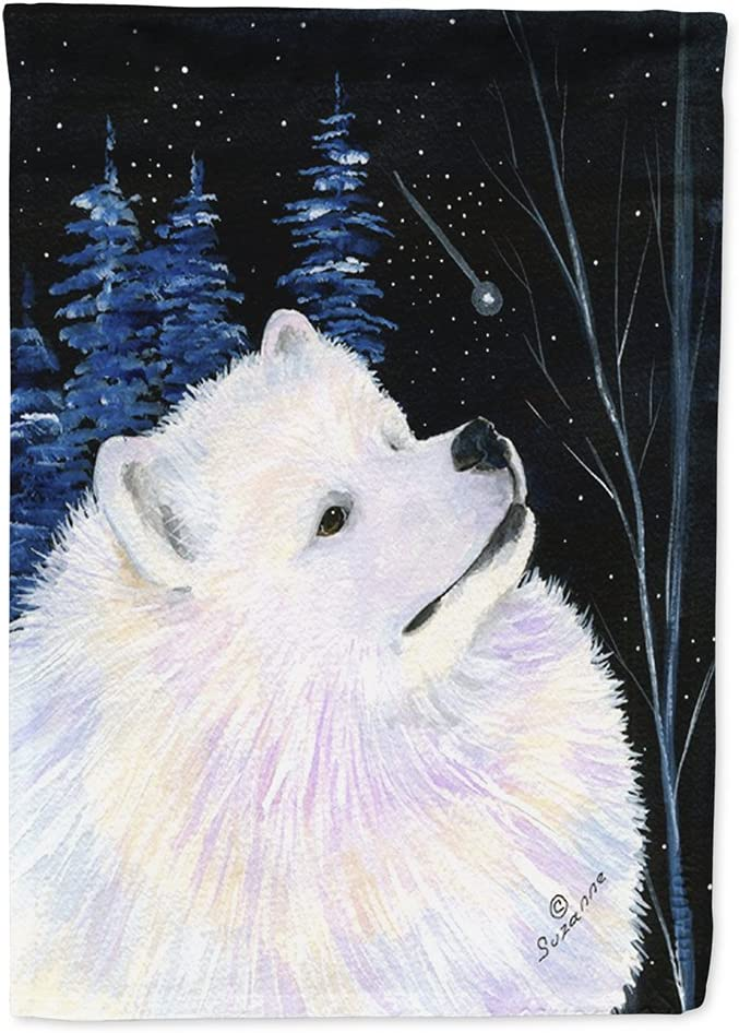 Caroline's Treasures SS8376GF Starry Night Samoyed Flag Garden Size, Small, Multicolor