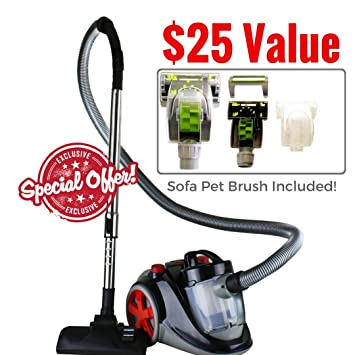 Ovente Bagless Canister Cyclonic Vacuum with HEPA Filter, Comes with Pet/Sofa Brush, Telescopic Wand, Combination Bristle Brush/Crevice Nozzle and ...
