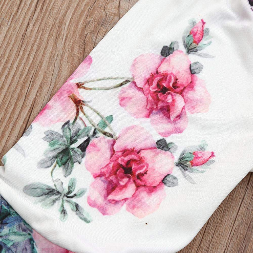 The Stock Pile Girls Set Outfits Solid Off Shoulder Tops+Floral Pants