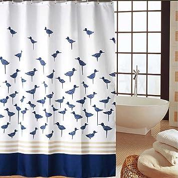 duschvorhang blau weiss weiß 280x200 textil waschbar 100 polyester