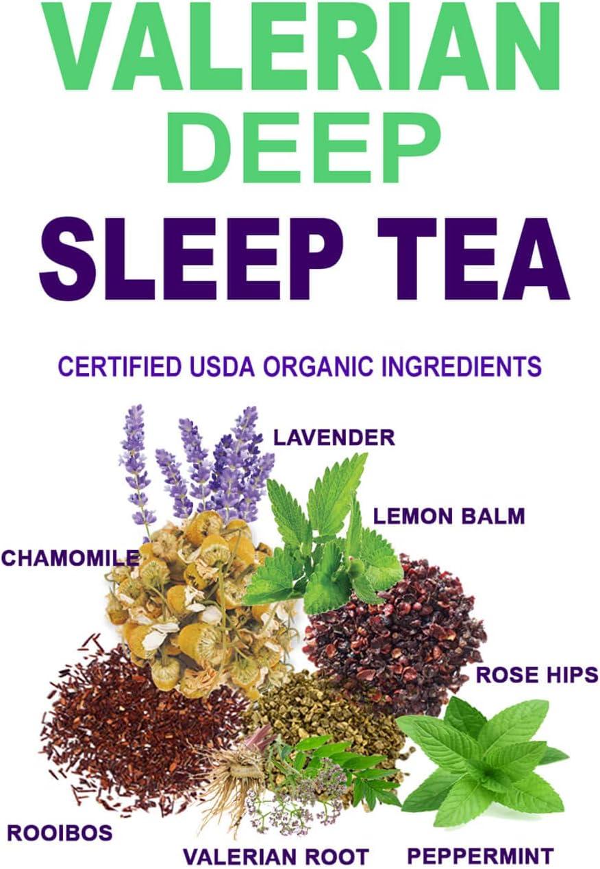 Secrets Of Tea Valerian Sleep Tea - Natural USDA Organic Caffeine-Free Tea for Sleep Aid - Herbal Tea for Sleeping and Relaxation with Lavender, Chamomile and Lemon Balm