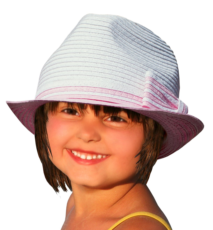 BePe Baby Little Kids Toddler Baby Girl Fedora Sun Hat Summer Beach Cap - Off White/Pink - 4 to 7 Years