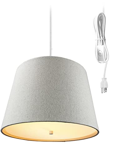 2 Light Plug-In Pendant Light By Home Concept - Hanging Swag L& Sand Linen  sc 1 st  Amazon.com & 2 Light Plug-In Pendant Light By Home Concept - Hanging Swag Lamp ...