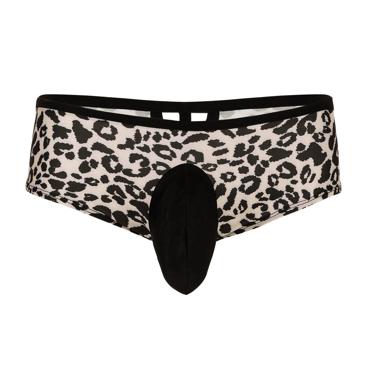 YiZYiF Sissy Pouch Men's Lingerie Floral Lace Bikini Briefs Criss Cross Jockstraps Panty (Medium(Waist:28.0-42.0''/72-106cm), Leopard)