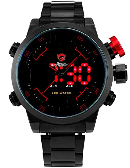 3d3b2df820e0 Shark Reloj Deportivo para Hombre - Pulsera Negro en Acero Inoxidable -  Reloj Impermeable Negro  Amazon.es  Relojes