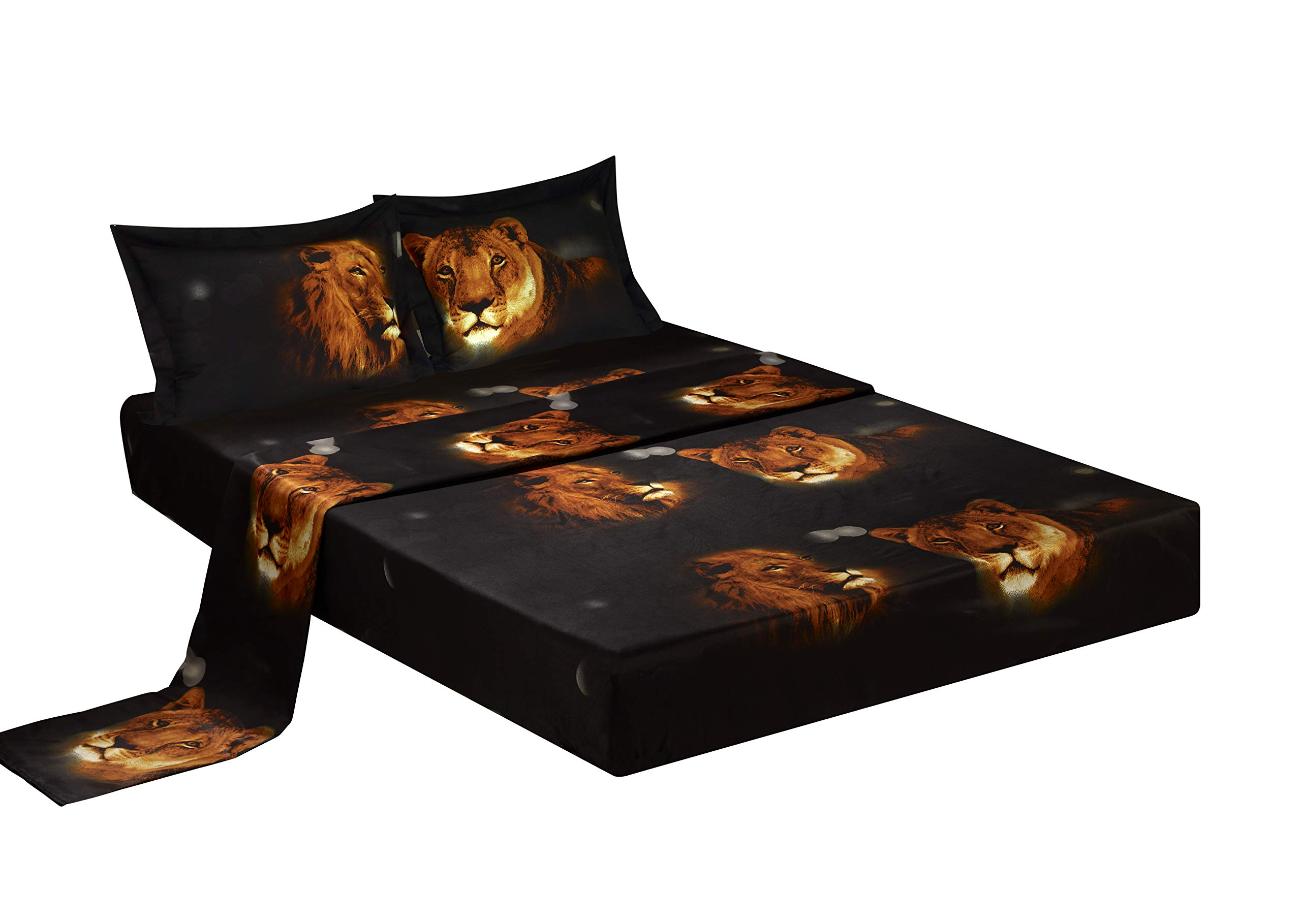 Bednlinens Luxury 4 Piece Sheet Set 3d Lion Pride Print Black (Queen Y15)