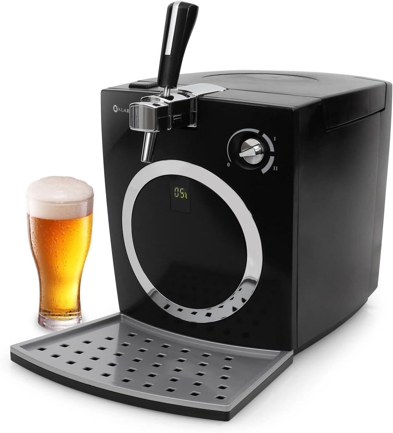 Klarstein Hopfenthal Tirador de cerveza - Dispesador regulable, Enfriador de jugo, Display LED, Barriles de 5L, Funcionamiento silencioso, Bombeo sin cartuchos de dióxido de carbono, Negro