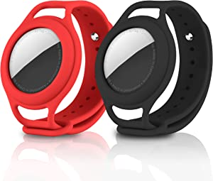 LAUDTEC AirTags Case Silicone with Watch Band 2 Packs, Protective Cover for Apple AirTag Finder Location Tracker Holder with Silicone Watch Straps for Toddler Baby, Children, Old Man (Black Red)