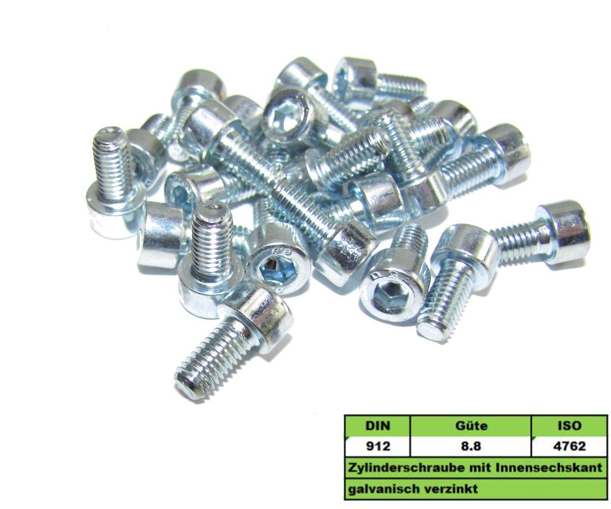25 St/ück M5x12mm DIN 912 8.8 Zylinderschrauben Innensechskant verzinkt M5x12 M5