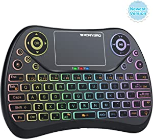 (Newest Version) PONYBRO Mini Wireless Keyboard with Touchpad Mouse,Backlit Remote Keyboard, Portable Handheld Keyboard Wireless Small Keyboard for Android,Windows,Mac OS,Linus.PC,TV,Notebooks.(MK1)