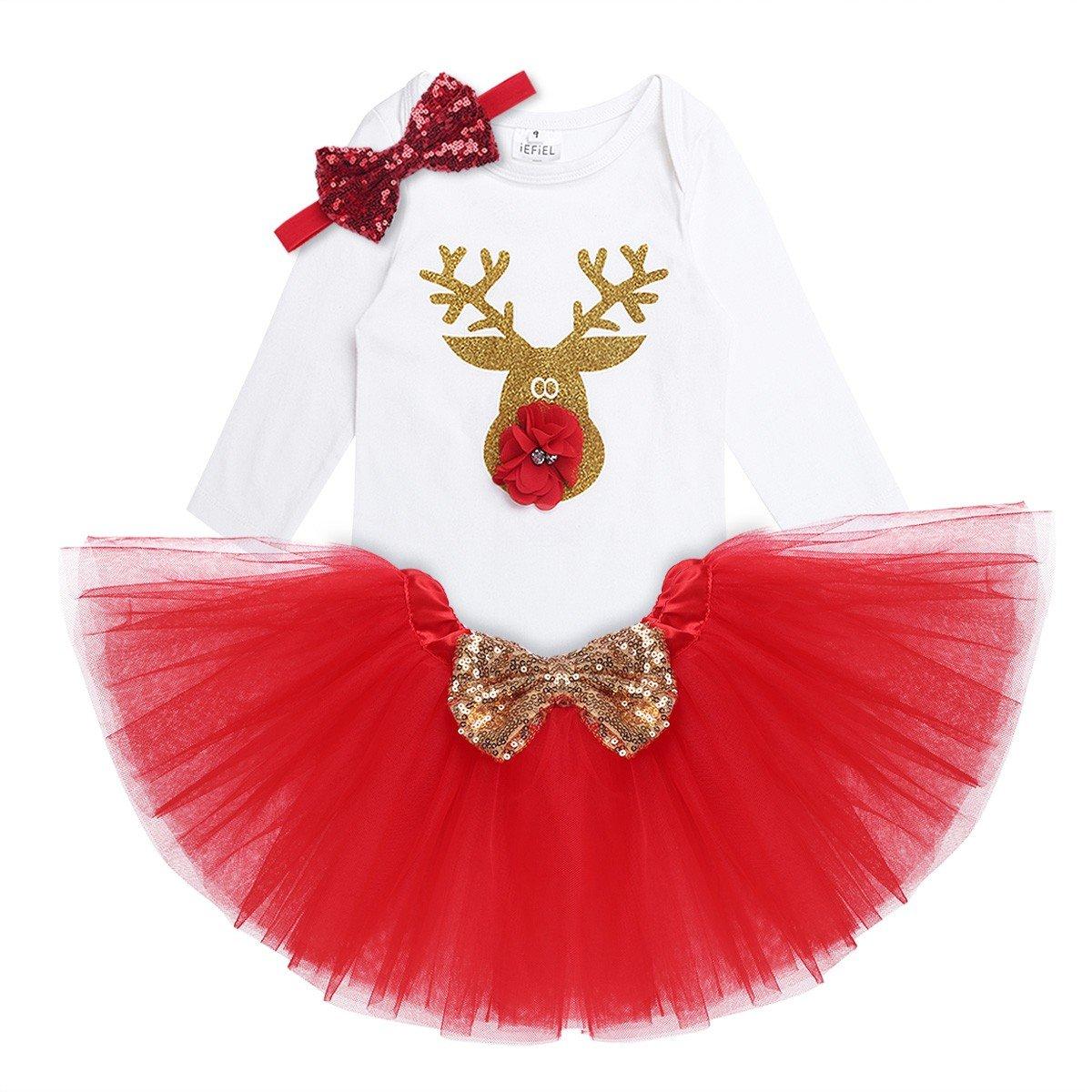 Freebily Vêtement Noël Bébé Fille Body Barboteuse Combinaison Manches Longues + Tutu Jupe + Bowknet Bandeau Noël Bébé Fille Déguisement 3-18 Mois