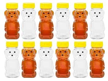 Plástico 8 oz oso Squeeze Miel botella vacía con tapas de abatible amarillo