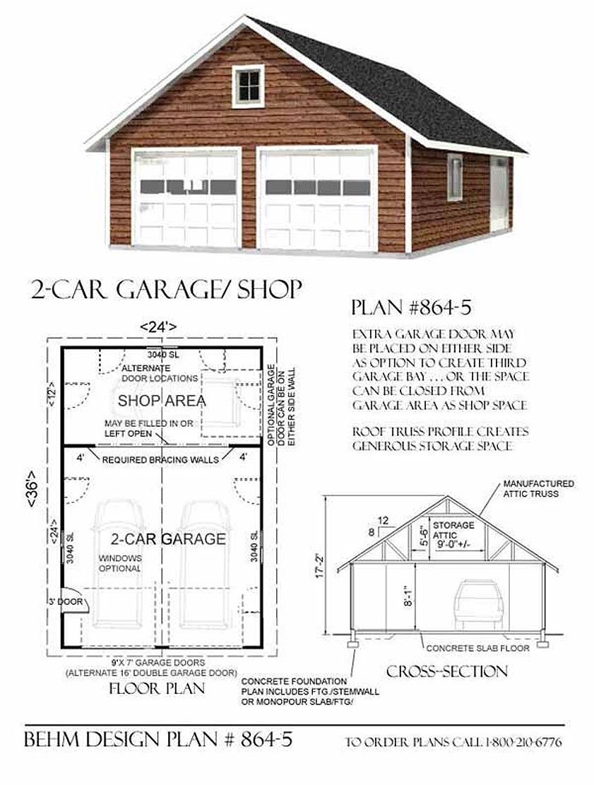 Garage Plans Two Car Gable Entry With Shop Attic Roof