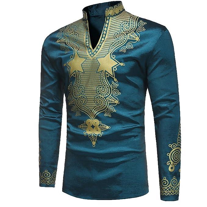 Bonboho Herren Shirts Hoher Kragen Hipster Hip Hop Bluse Afrikanische  Dashiki Grafik-Spitzenhemden  fbfe3384d6