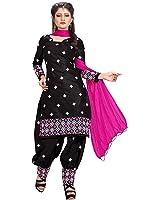 Rangrasiya Women's Black Cotton Embroidered Patiyala Suit(Black_Free Size)