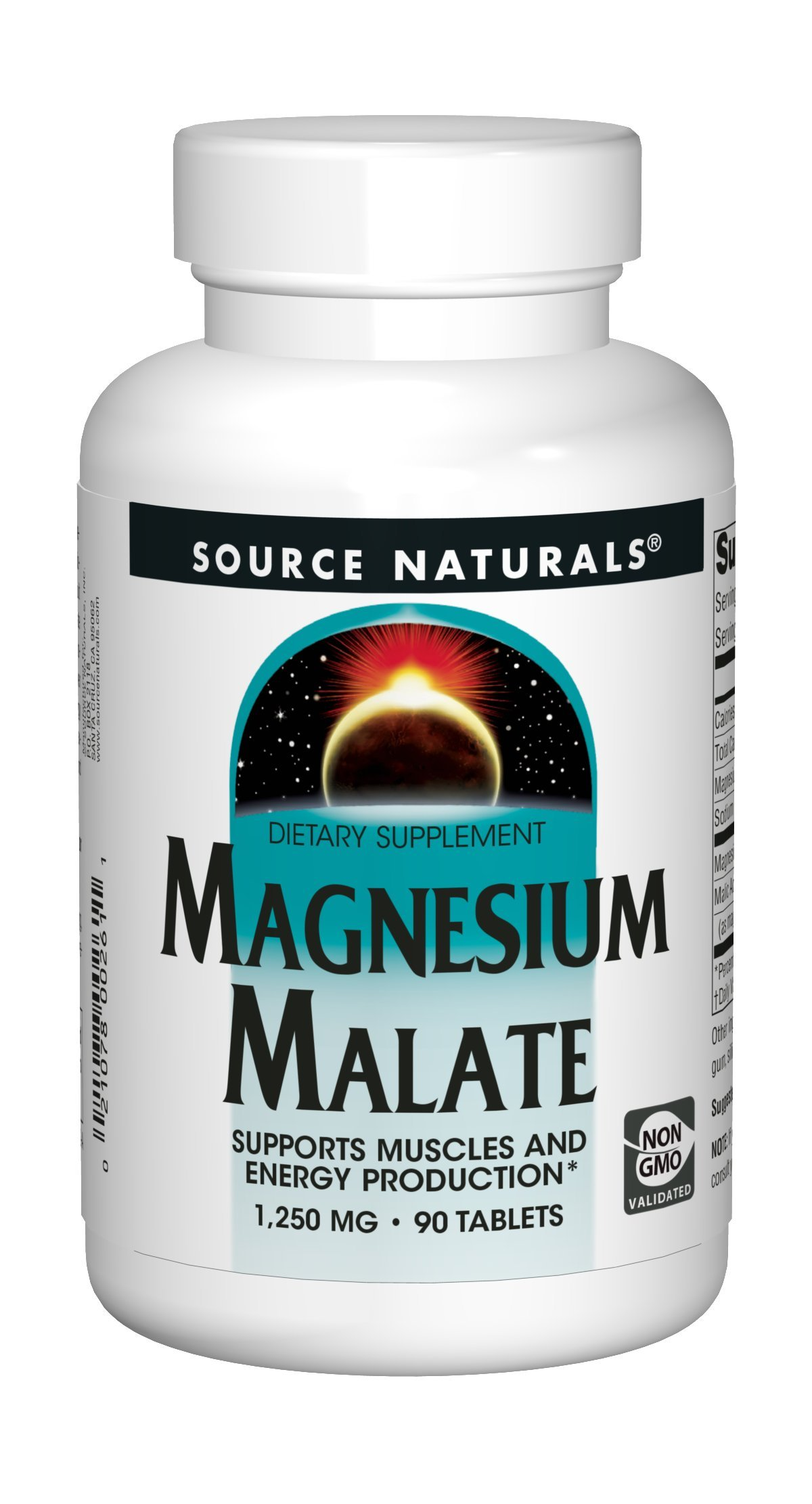 Source Naturals Magnesium Malate 1250mg Supplement Supports Muscle Function, Health and Energy Production - Essential Magnesium Malic Acid Supplement - 90 Tablets by Source Naturals (Image #1)