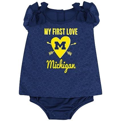 02b6562fad839a Amazon.com   Colosseum My First Love Baby Girl Michigan Onesie Dress ...