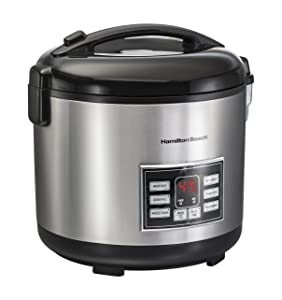 Hamilton Beach (37543) Rice Cooker, 10 Cups uncooked resulting in 20 Cups Cooked with Steam & Rinse Basket