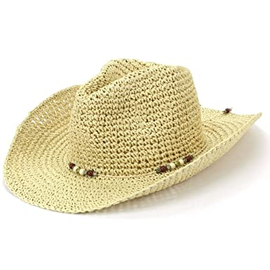 6cf5d6462 Hawkins Straw Cowboy Hat with Bead Band: Amazon.co.uk: Clothing