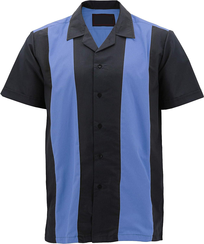 vkwear Camisa de Bolos Estilo Retro de Guayabera clásica con Botones en Dos Tonos para Hombre - Azul - Large: Amazon.es: Ropa y accesorios