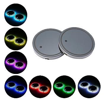 Compra KOBWA - Juego de 2 Posavasos LED para Tazas de 7 Colores cambiantes con USB y Almohadilla luminiscente para Taza y Decoración de Lámparas de Ambiente ...
