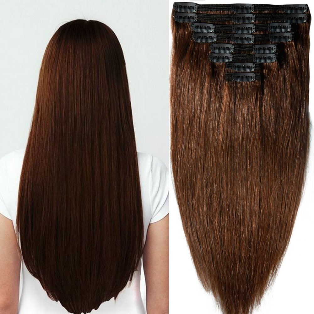 40cm-55cm Clip in Extensions Set 100% Remy Echthaar 8 Teilig 130g-160g Haarverlängerung dick Dopplet Tressen Clip-In Hair Extension (40cm-130g, Nr.2 dunkelbraun) S-noilite
