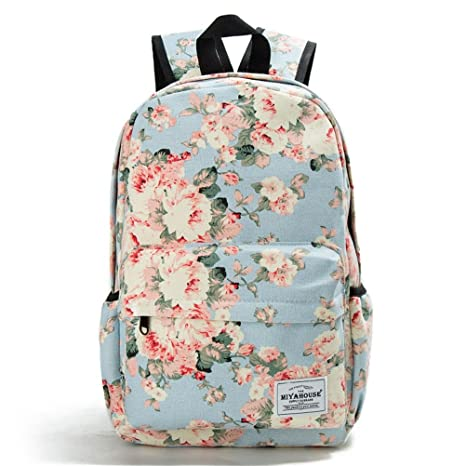 5294569bc718 Amazon.com  Unique Printing Backpack Women Vintage Floral Bookbags Travel  Bags For School Teenage Girls Canvas Backbag Top Quality 1037c  Toys   Games