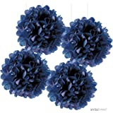 Andaz Press Large Tissue Paper Pom Poms Hanging Decorations, Navy Blue, 14-inch, 4-Pack, Nautical Baby Bridal Shower Wedding Decorations
