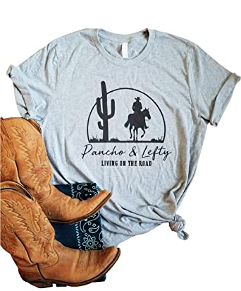 c5d93a4b7 Amazon.com: GEMLON Women's Spring Summer Shirts Pancho Lefty Country Music  Willie Nelson T-Shirt: Clothing